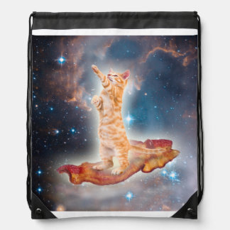 Bacon Surfing Cat in the Universe Drawstring Backpack