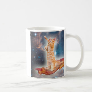 Bacon Surfing Cat in the Universe Basic White Mug