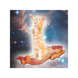 Bacon Surfing Cat in the Universe Canvas Prints