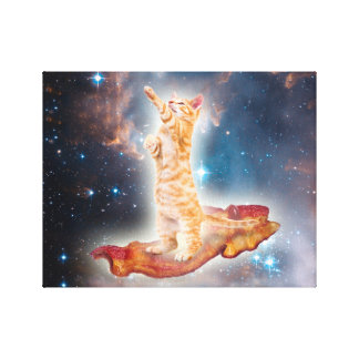 Bacon Surfing Cat in the Universe Gallery Wrapped Canvas