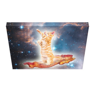 Bacon Surfing Cat in the Universe Stretched Canvas Prints