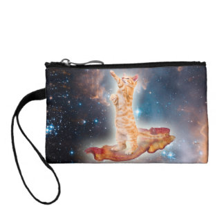 Bacon Surfing Cat in the Universe Coin Purses