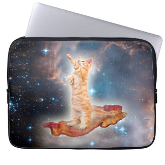 Bacon Surfing Cat in the Universe Computer Sleeves