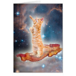 Bacon Surfing Cat in the Universe Greeting Card