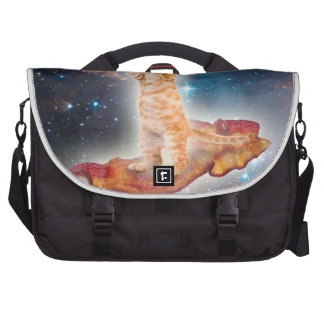Bacon Surfing Cat in the Universe Laptop Shoulder Bag