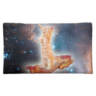 Bacon Surfing Cat in the Universe Makeup Bag