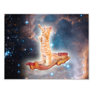 Bacon Surfing Cat in the Universe Art Photo