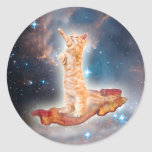 Bacon Surfing Cat in the Universe Round Sticker