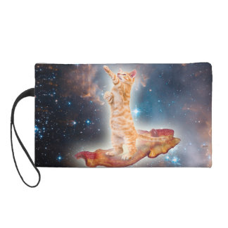 Bacon Surfing Cat in the Universe Wristlet Purses
