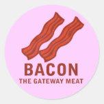 Bacon, The Gateway Meat Round Sticker