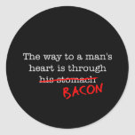 Bacon Way to a Man's Heart Round Stickers
