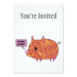 "Bacon Wrapped Piggy 5"" X 7"" Invitation Card"