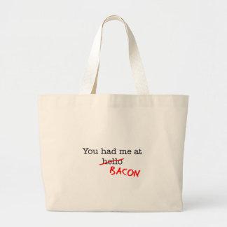 Bacon You Had Me At Large Tote Bag