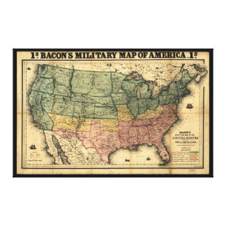 Bacon's Military Map of the United States (1862) Gallery Wrapped Canvas
