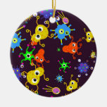 Bacteria Wallpaper Double-Sided Ceramic Round Christmas Ornament