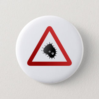 Bacteria Warning Sign 6 Cm Round Badge
