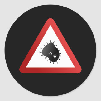 Bacteria Warning Sign Classic Round Sticker