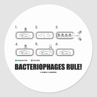 Bacteriophages Rule! (Bacteria Virus DNA) Round Sticker