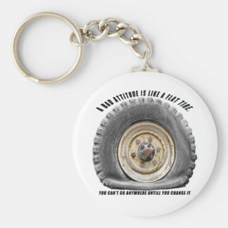 Bad Attitude Like Flat Tire Basic Round Button Key Ring