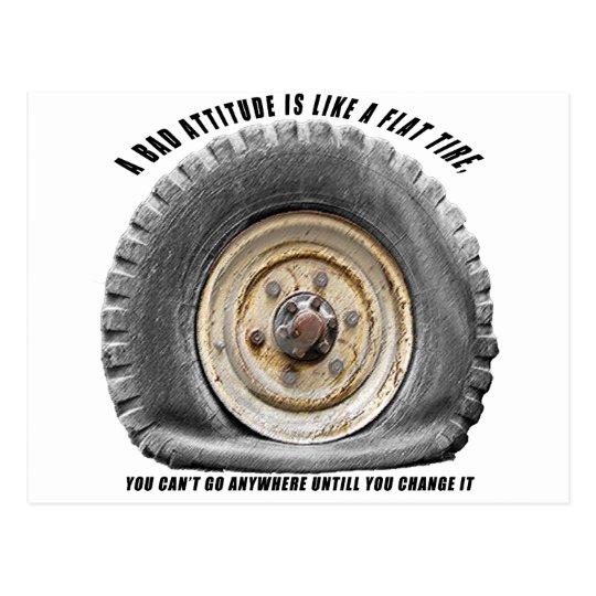 Bad Attitude Like Flat Tire Postcard