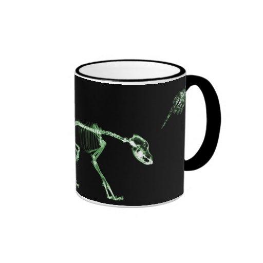 Bad Dog X-ray Skeleton in Green Coffee Mug