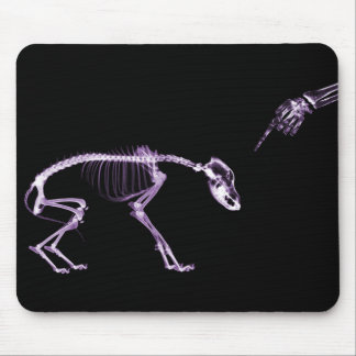 Bad Dog X-ray Skeleton in Purple Mouse Mat