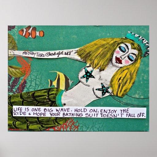 BAD GIRL ART MERMAID POSTER. POSTER