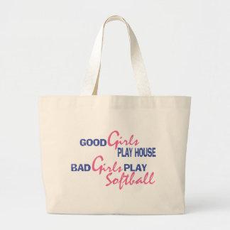 Bad Girls Play Softball Large Tote Bag