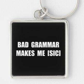 Bad Grammar Silver-Colored Square Key Ring