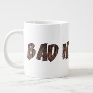 Bad Hair Day Funny Realistic Hair Typography Large Coffee Mug