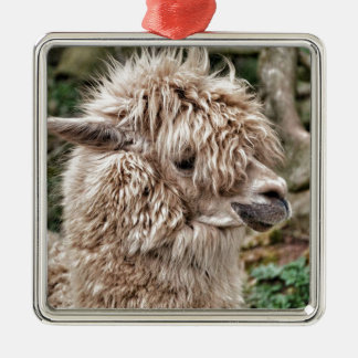 Bad Hair Day Lama Silver-Colored Square Decoration
