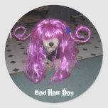 Bad Hair Day Round Stickers