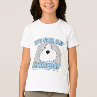 Bad Hair Day Sheepdog Girl's Ringer T T-Shirt