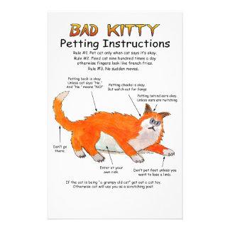 Bad Kitty Petting instructions Stationery