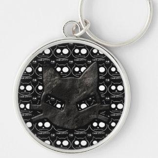 Bad Kitty Skulls Black Gothic Key Chain