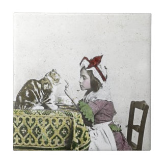 Bad Kitty Victorian Tea Party Vintage Little Girl Small Square Tile