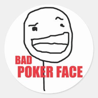 Bad Poker Face Round Sticker