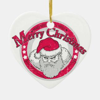 Bad Santa Ceramic Heart Decoration