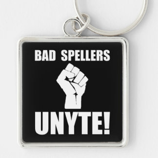 Bad Spellers Unite Silver-Colored Square Key Ring