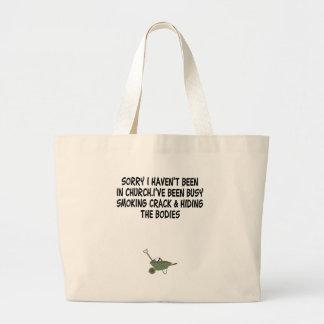 Bad taste crack joke jumbo tote bag