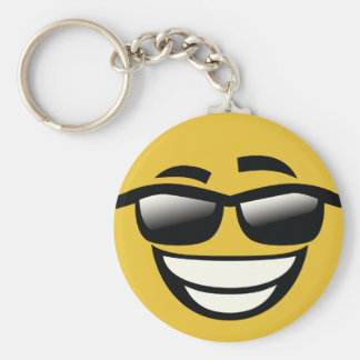 Bad to the Bone cool guy Emoji Basic Round Button Key Ring