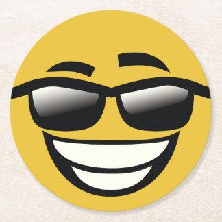 Bad to the Bone cool guy Emoji Round Paper Coaster