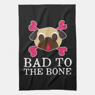 Bad To The Bone Fawn Pug And Crossbones Tea Towel