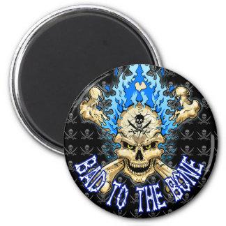 Bad to the Bone Skull 6 Cm Round Magnet