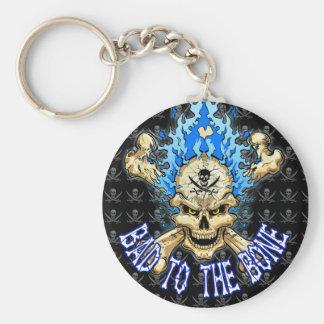 Bad to the Bone Skull Basic Round Button Key Ring