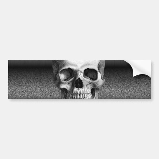 Bad TV Skull Black & White Bumper Sticker