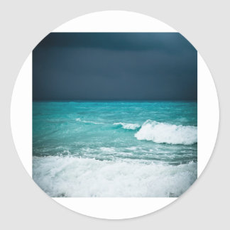 Bad weather seascape round stickers