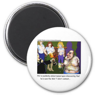 Bad Wet Tee Contest Funny Cartoon Gifts & Tees 6 Cm Round Magnet