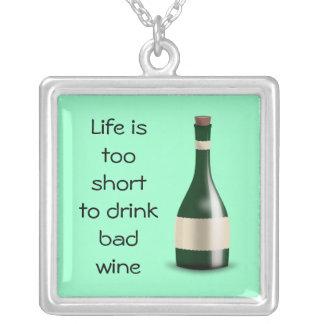 Bad wine square pendant necklace