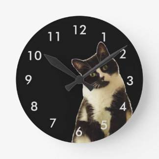 """Badass Cats """"What are you looking at!"""" Round Clock"""
